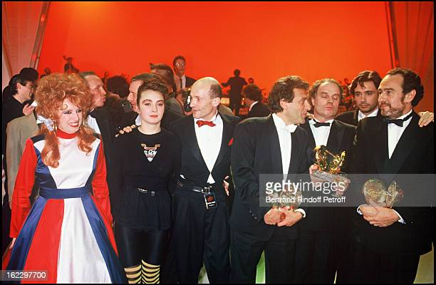 Yvette Horner JeanMichel Jarre and Rita Mitsouko at the Victoires de la Musique French Music Awards Ceremony 1987