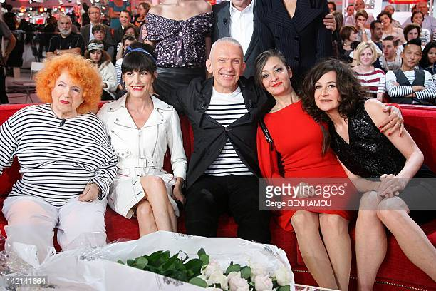 Yvette Horner Lio JeanPaul Gaultier Catherine Ringer and Valerie Lemercier attend Vivement Dimanche Tv show on September 21 2011 in Paris France