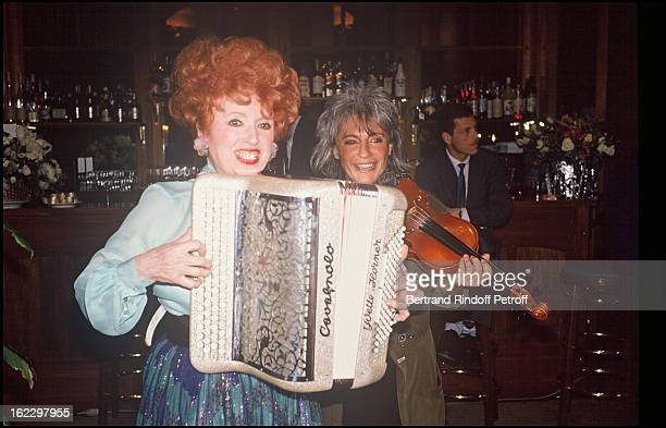 Yvette Horner with Catherine Lara at Veronique Mourousi's birthday party 1988