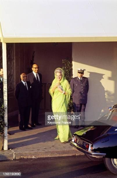 Yvette Labrousse, la bégum Aga Khan III arrivant pour le mariage de Karim Aga Khan IV en 1969.