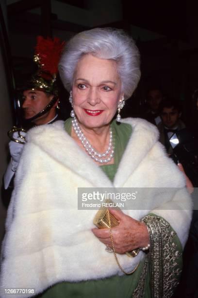 Yvette Labrousse lors d'une soirée à Paris le 3 novembre 1987, France