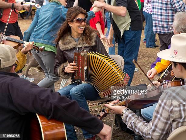 Yvette Landry plays accordion at a Cajun Jam Session Lafayette,