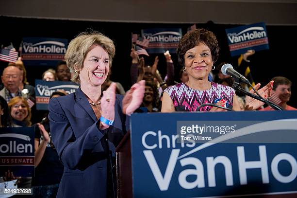 Yvette Lewis, right, and Kathleen Kennedy Townsend attend a victory party at the Bethesda Marriott after Rep. Chris Van Hollen, D-Md., won the...