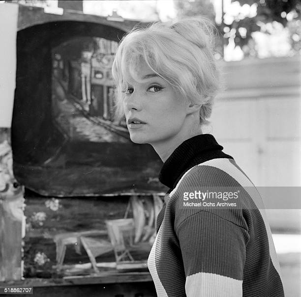 Yvette Mimieux poses for a portrait at home in Los AngelesCA