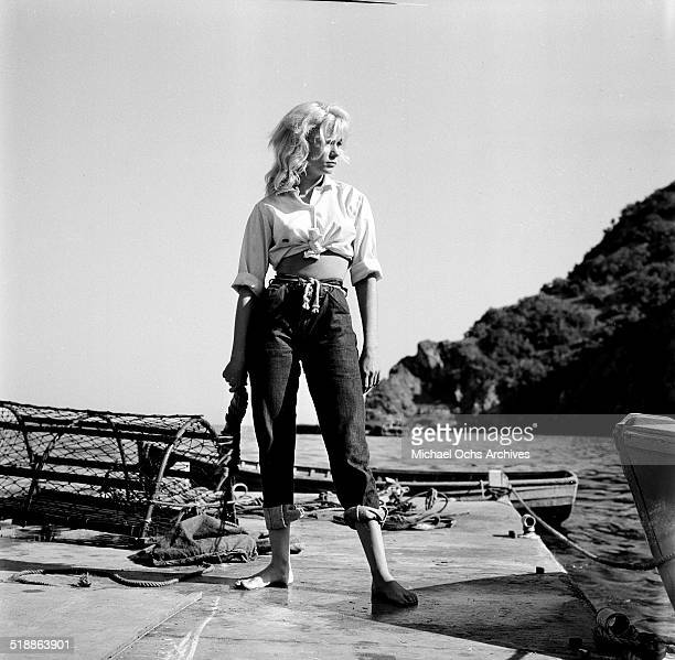 Yvette Mimieux poses for a portrait at the beach in Los AngelesCA