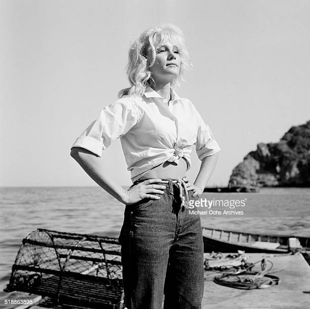 Yvette Mimieux poses for a portrait at the ocean in Los AngelesCA
