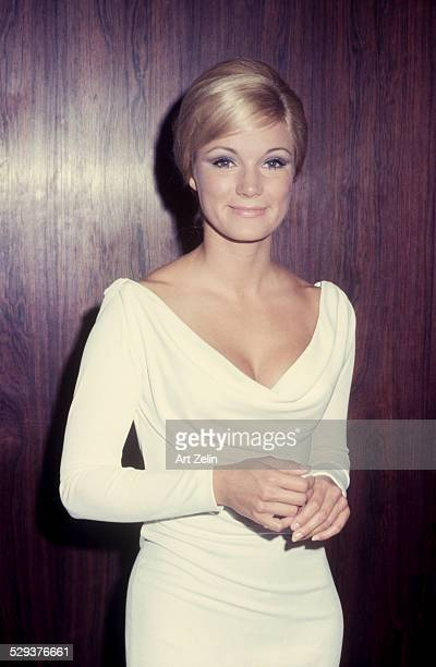 Yvette Mimieux wearing a white draped neck dress circa 1970 New York