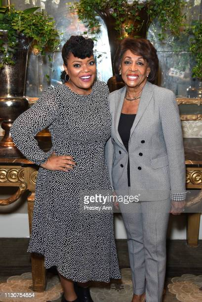 Yvette Nicole Brown and Maxine Waters attend Raising Our Voices Supporting More Women in Hollywood Politics at Four Seasons Hotel Los Angeles in...