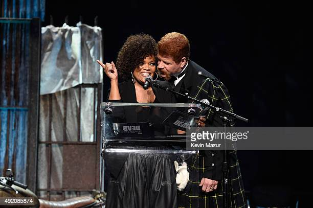 """Yvette Nicole Brown and Michael Cudlitz attend AMC's """"The Walking Dead"""" season 6 fan premiere event at Madison Square Garden on October 9, 2015 in..."""