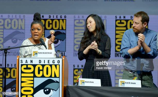Yvette Nicole Brown Angela Kang and Scott M Gimple speak onstage at AMC's 'The Walking Dead' panel during ComicCon International 2018 at San Diego...