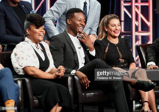 Yvette Nicole Brown Brandon Micheal Hall and Lea Michele from The Mayor speak onstage during the Disney/ABC Television Group portion of the 2017...