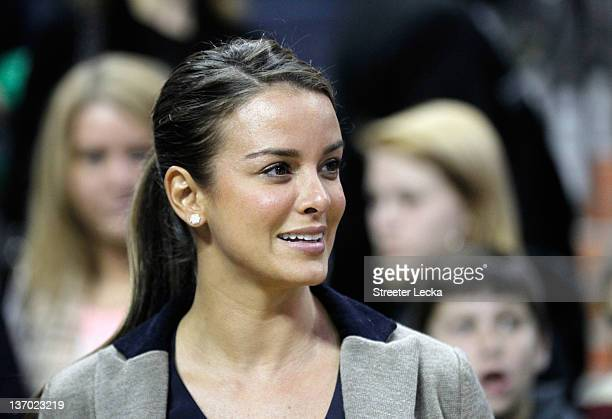 Yvette Prieto fiance of Michael Jordan watches on during the Golden State Warriors versus Charlotte Bobcats game at Time Warner Cable Arena on...