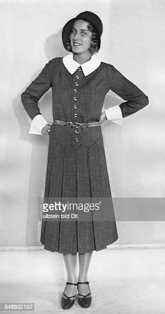 Yvette Rodin Actress Pilot fullfigure portrait in a tea gown about 1930 Photographer Atelier Balasz Published by 'Berliner Illustrirte Zeitung'...
