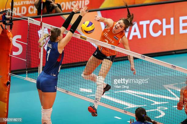 Yvon Belien of Netherlands spikes during the FIVB Women's World Championship semi final between Serbia and Netherlands at Yokohama Arena on October...