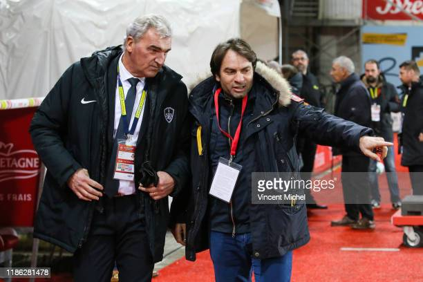 Yvon LE ROUX and Christophe DOMINICCI during the Ligue 1 match between Stade Brest and RC Strasbourg at Stade Francis Le Ble on December 4 2019 in...