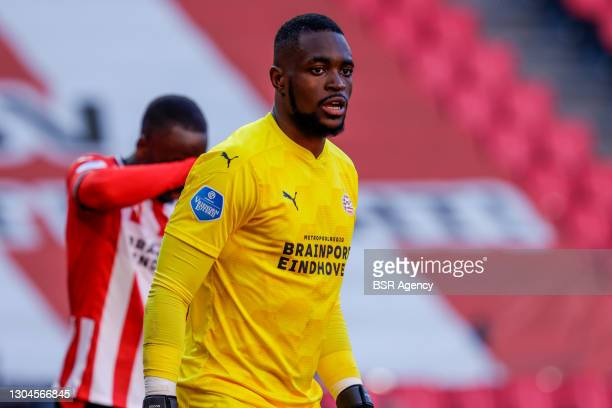 Yvon Mvogo of PSV during the Dutch Eredivisie match between PSV and Ajax at Philips Stadion on February 28, 2021 in Eindhoven, Netherlands