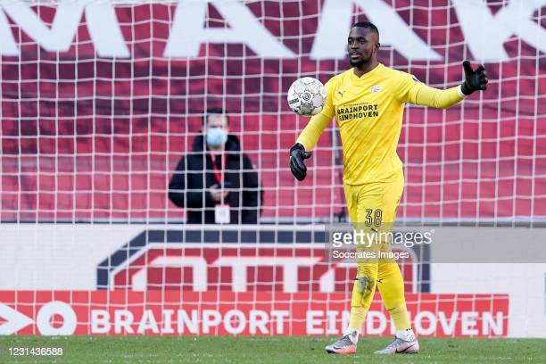 Yvon Mvogo of PSV during the Dutch Eredivisie match between PSV v Ajax at the Philips Stadium on February 28, 2021 in Eindhoven Netherlands
