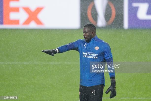 Yvon Mvogo of PSV during the warming up during the UEFA Europa League match between PSV v Olympiakos Piraeus at the Philips Stadium on February 25,...