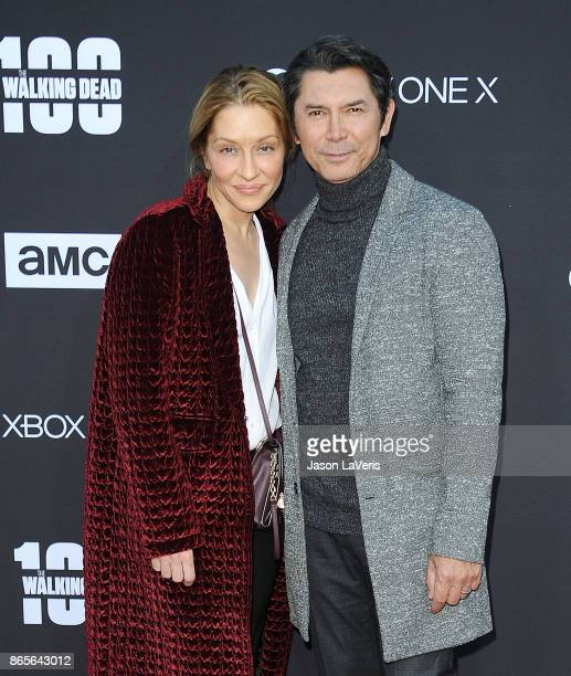 Yvonne Boismier Phillips and Lou Diamond Phillips attend the 100th episode celebration off The Walking Dead at The Greek Theatre on October 22 2017...