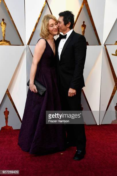 Yvonne Boismier Phillips and Lou Diamond Phillips attend the 90th Annual Academy Awards at Hollywood Highland Center on March 4 2018 in Hollywood...