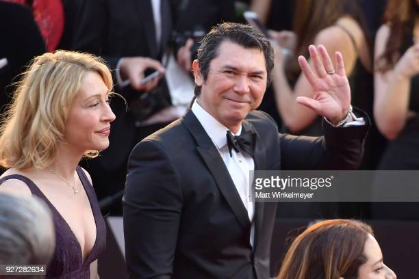 Yvonne Boismier Phillips and Lou Diamond Phillips attends the 90th Annual Academy Awards at Hollywood Highland Center on March 4 2018 in Hollywood...