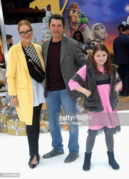 Yvonne Boismier Phillips Lou Diamond Phillips and daughter arrive for the Premiere Of Columbia Pictures' 'The Star' held at Regency Village Theatre...
