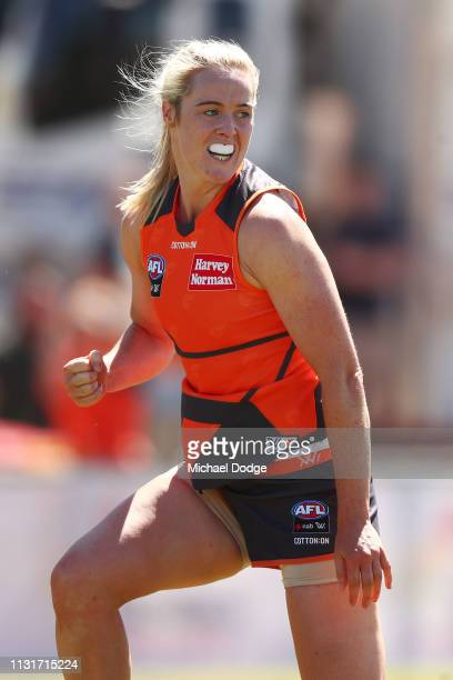 Yvonne Bonner of GWS celebrates a goal during the AFLW Rd 4 match between Collingwood and GWS at Morwekk Recreation Reserve on February 24 2019 in...