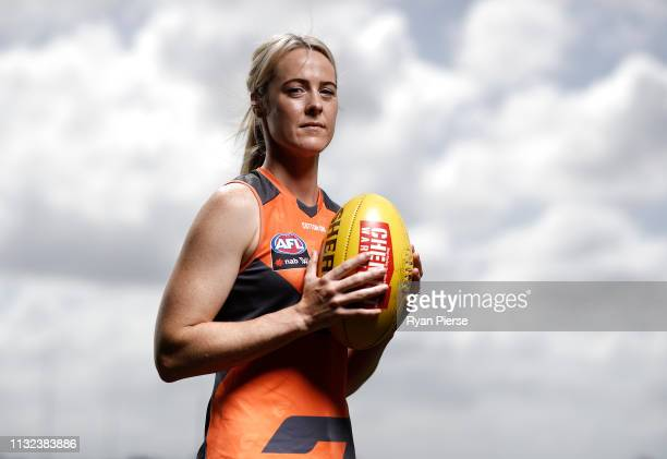 Yvonne Bonner of the AFLW GWS Giants poses during a Greater Western Sydney Giants media session at the Westconnex Centre on February 27 2019 in...