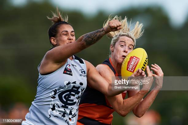 Yvonne Bonner of the Giants takes a mark over Kirby Bentley of Carlton during the round three AFLW match between the Greater Western Sydney Giants...