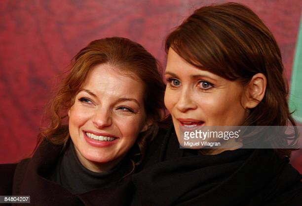 Yvonne Catterfeld and Anja Kling pose for the media during the premiere of the movie 'Lilli The Witch The Dragon And The Magical Book' on February 15...