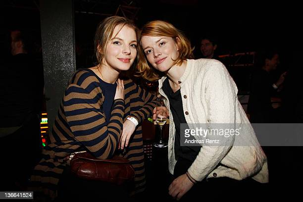 Yvonne Catterfeld and Karoline Schuch attend the afterparty to the 'Offroad' premiere at cinema Kulturbrauerei on January 9 2012 in Berlin Germany