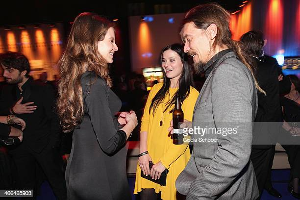 Yvonne Catterfeld , Anna Fischer and boyfriend Leonard Andreae attend the after show party of Goldene Kamera 2014 Hangar 7 at Tempelhof Airport on...