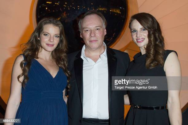 Yvonne Catterfeld Christophe Gans and Nora Huetz attend the 'La belle et la bete' after premiere party during 64th Berlinale International Film...