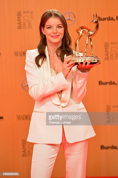 Yvonne Catterfeld is seen with her award at the Bambi Awards 2015 winners board at Stage Theater on November 12 2015 in Berlin Germany