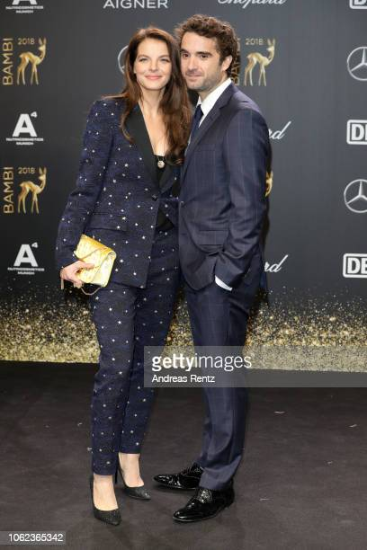 Yvonne Catterfeld wearing Cartier jewelry and Oliver Wnuk attends the 70th Bambi Awards at Stage Theater on November 16 2018 in Berlin Germany