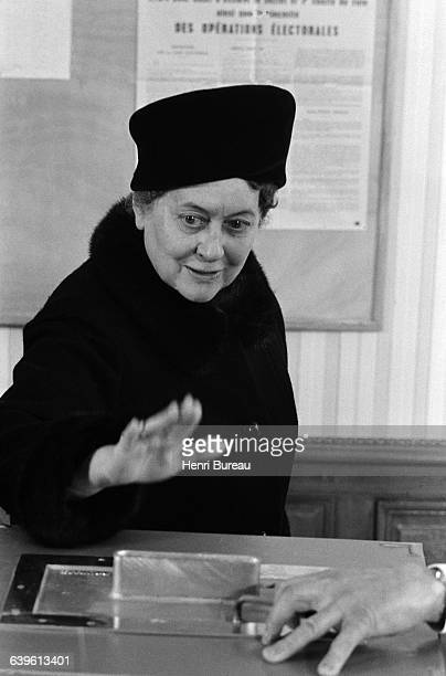 Yvonne de Gaulle casting her vote in ColombeyLesDeuxEglises