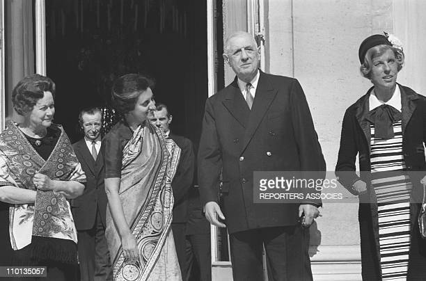 Yvonne de Gaulle Indira Gandhi General Charles de Galle Mrs Pompidou at the Elysee in Paris France on March 25 1966