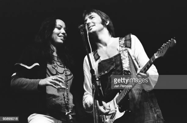 Yvonne Elliman and Eric Clapton perform on stage at KB Hallen on June 20th 1974 in Copenhagen Denmark
