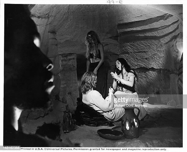 Yvonne Elliman praying to Ted Neeley in a scene from the film 'Jesus Christ Superstar', 1973.