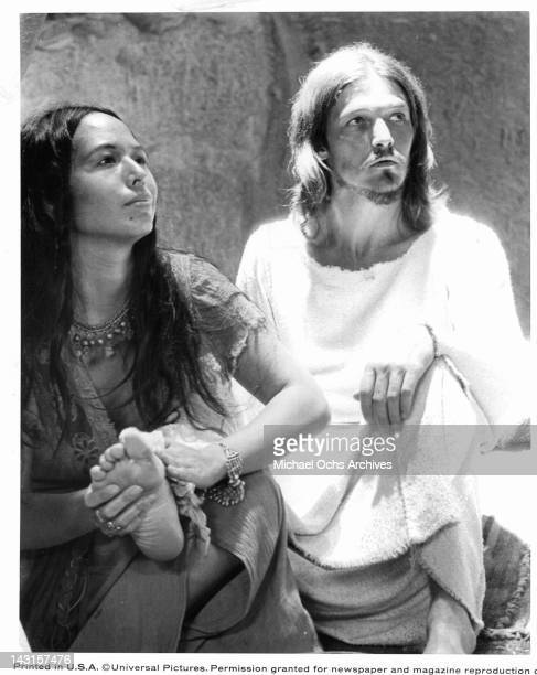 Yvonne Elliman rubs Ted Neeley foot in a scene from the film 'Jesus Christ Superstar' 1973