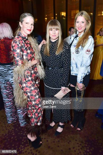 Yvonne Force Villareal Amy Astley and Delphine de Causans attend Art Production Fund's Bright Lights Big City Gala at Seagram Building on March 13...