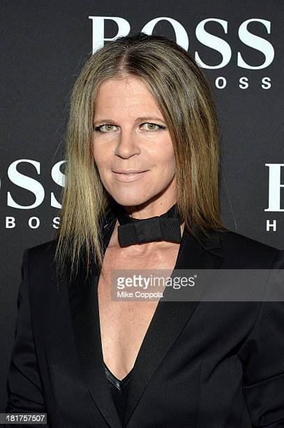 Yvonne Force Villareal attends HUGO BOSS celebrates Columbus Circle BOSS flagship opening featuring premiere of 'Anthropocene' by Marco Brambilla on...