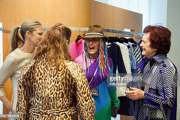 Yvonne Force Villareal Jennifer Riser Deb Windham and Helen Riser socialize at Barneys New York on January 29 2016 in San Francisco California