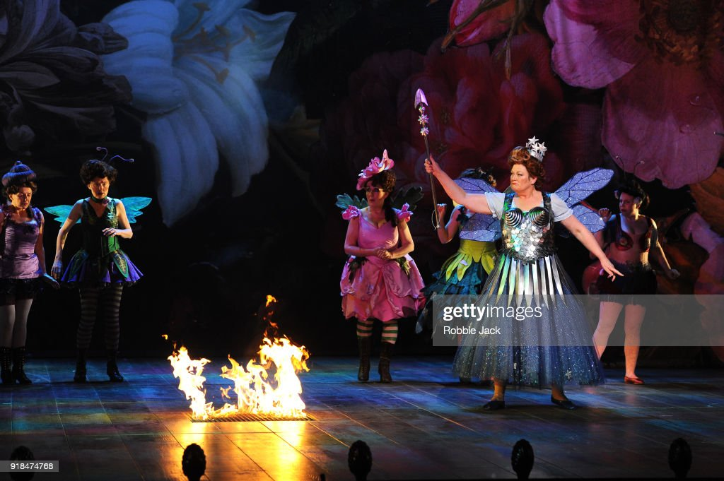 Yvonne Howard as Queen of the Faities with artists of the company in English National Opera's production of Gilbert and Sullivan's Iolanthe at The London Coliseum on February 12, 2018 in London, England.