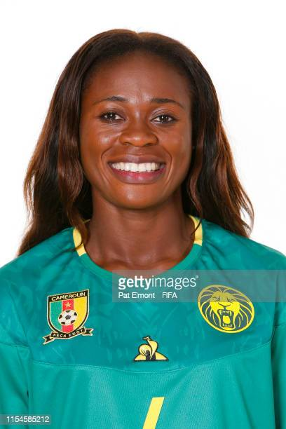 Yvonne Leuko of Cameroon poses for a portrait during the official FIFA Women's World Cup 2019 portrait session at Crowne Plaza Montpellier Corum on...
