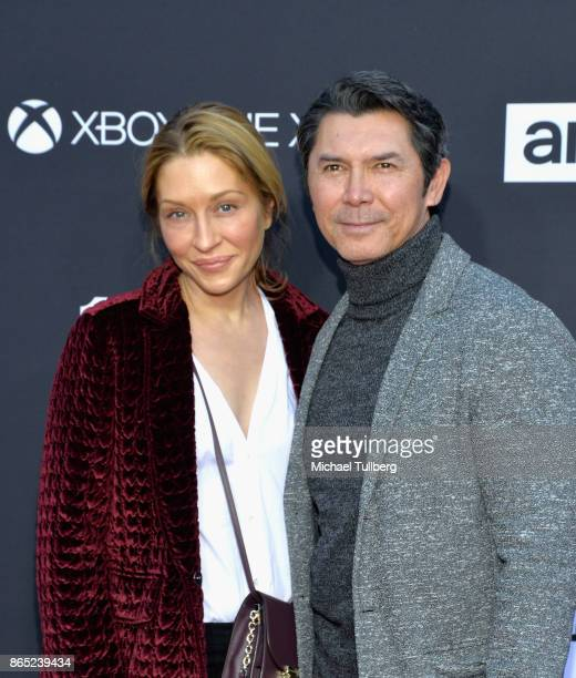 Yvonne Marie Boismier Phillips and actor Lou Diamond Phillips attend AMC's celebration of the 100th episdoe of The Walking Dead at The Greek Theatre...