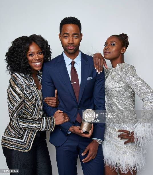 Yvonne Orji Jay Ellis and Issa Rae of 'Insecure' pose for a portrait at The 77th Annual Peabody Awards Ceremony on May 19 2018 in New York City
