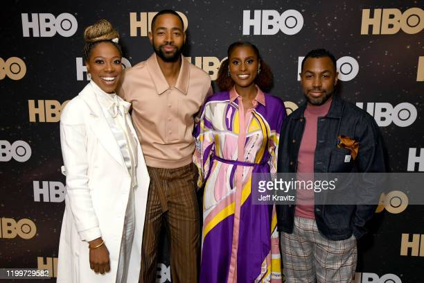 Yvonne Orji, Jay Ellis, Issa Rae and Prentice Penny of 'Insecure' pose in the green room during the 2020 Winter Television Critics Association Press...