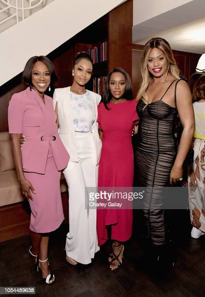 Yvonne Orji Yaya DaCosta Aja Naomi King and Laverne Cox attend InStyle Badass Women Dinner hosted by Tracee Ellis Ross and Laura Brown on October 27...