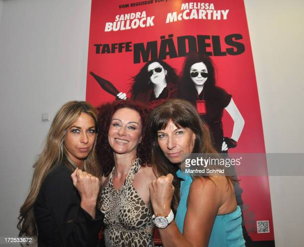 Yvonne Rueff Christina Mausi Lugner and Claudia KristoficsBinder pose for a photograph during the 'Taffe Maedls' movie premiere party at Lugner City...